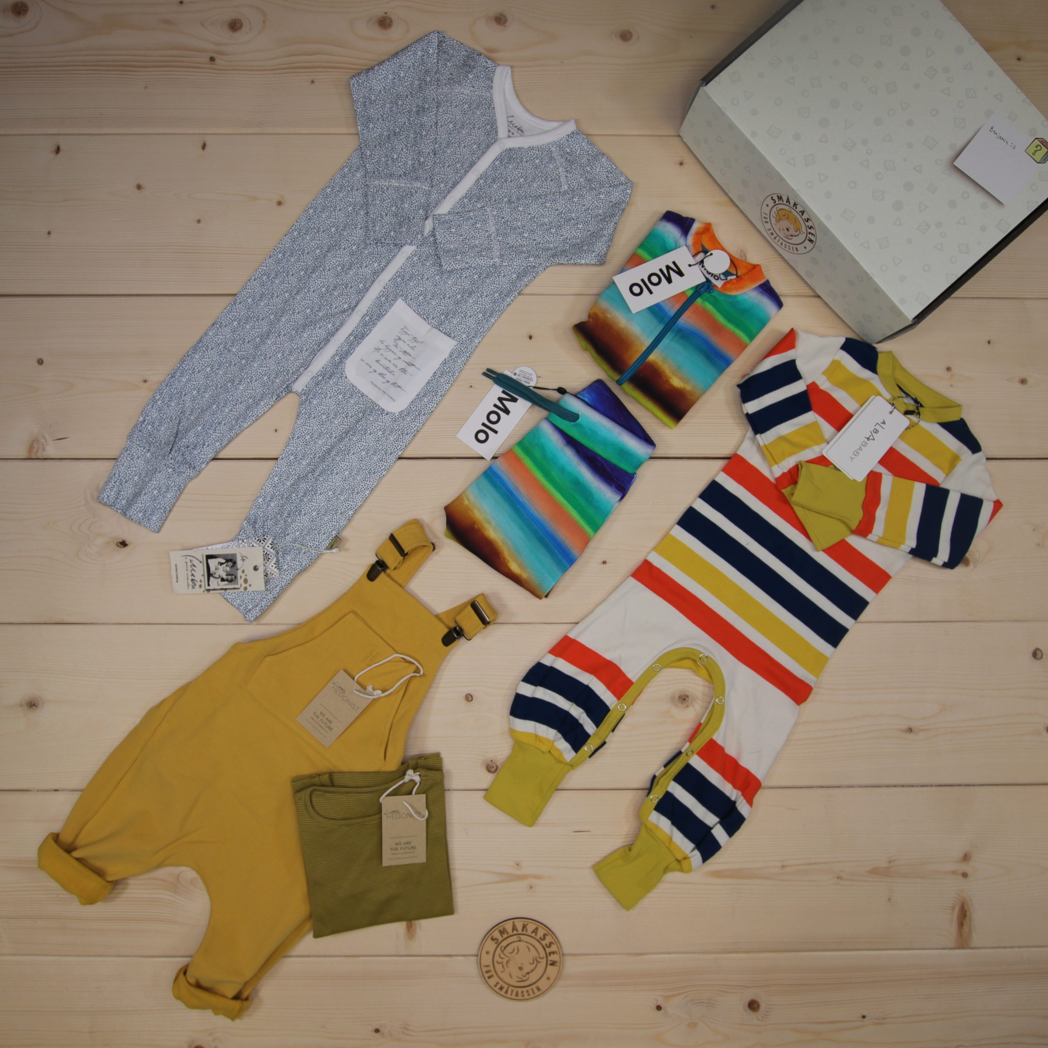 This is a 2500 NOK* Småkassen that we prepared for a boy  in the styles cute and cool in size 74
