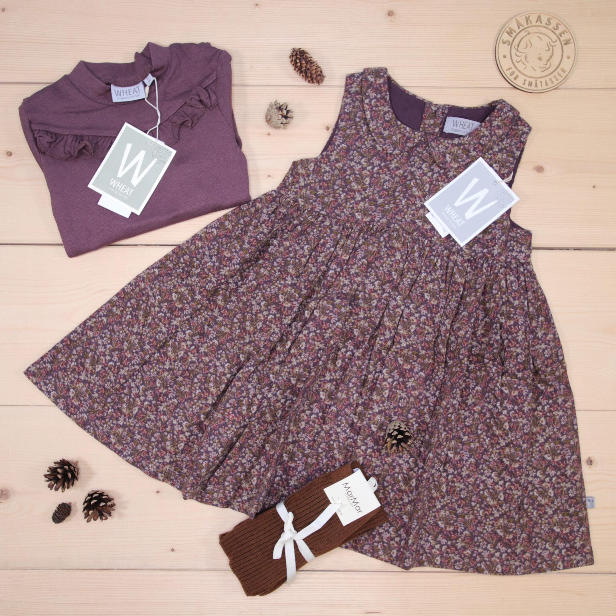 ⭐️NEWS⭐️: Beautiful Eila dress, soft eggplant flowers, and Rib Ruffle t-shirt, soft eggplant, from Wheat 🍁🎀  #Wheat #AW20     Dette er Småpakke som vi forberedte for en jente i stilene cute og cool