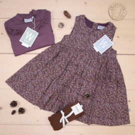 ⭐️NEWS⭐️: Beautiful Eila dress, soft eggplant flowers, and Rib Ruffle t-shirt, soft eggplant, from Wheat 🍁🎀  #Wheat #AW20     This is a The Childish Stylist that we prepared for a girl in the styles cute and cool in size .