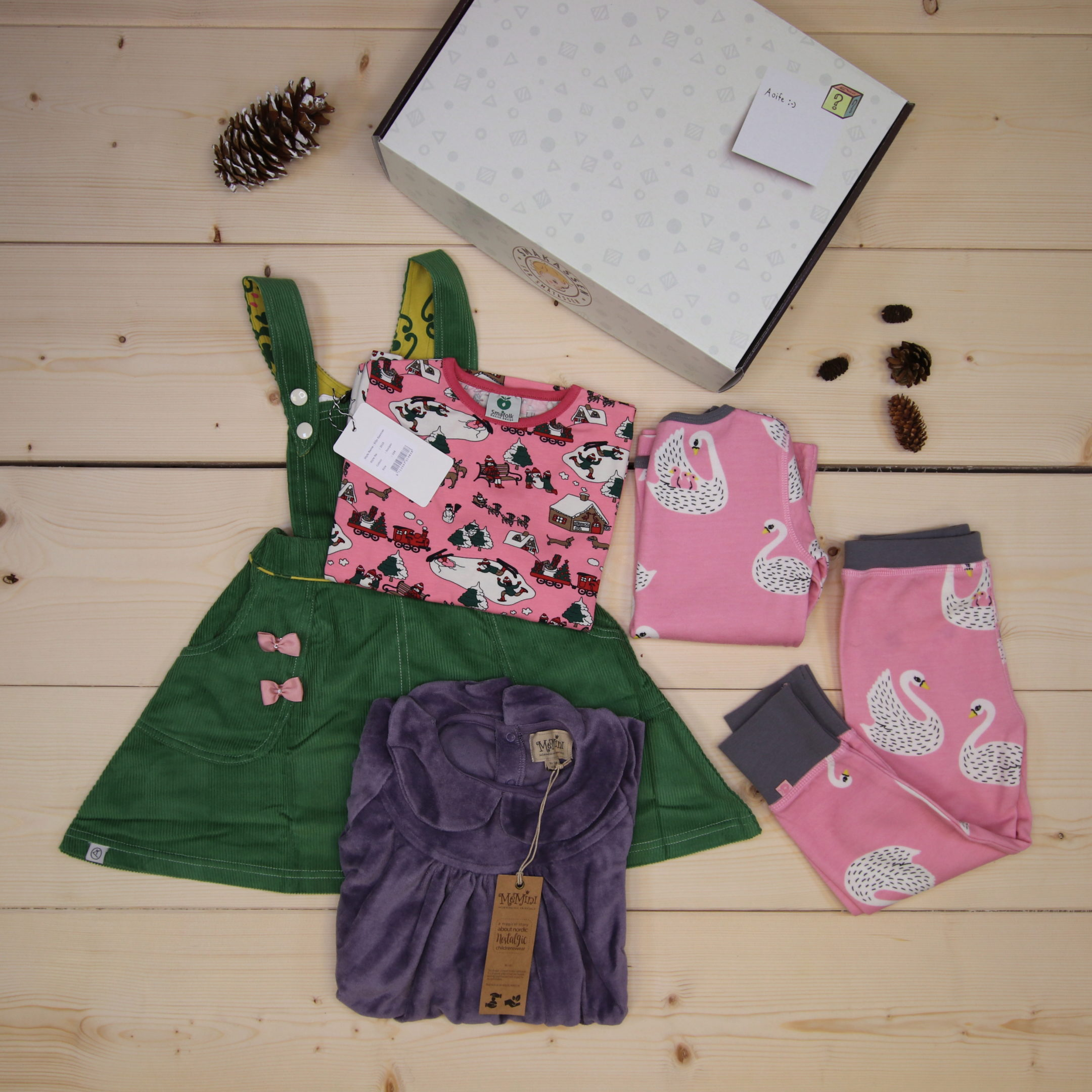 This is a 166 GBP* Småkassen that we prepared for a girl  in the styles cute, cool, and colorful in size 104