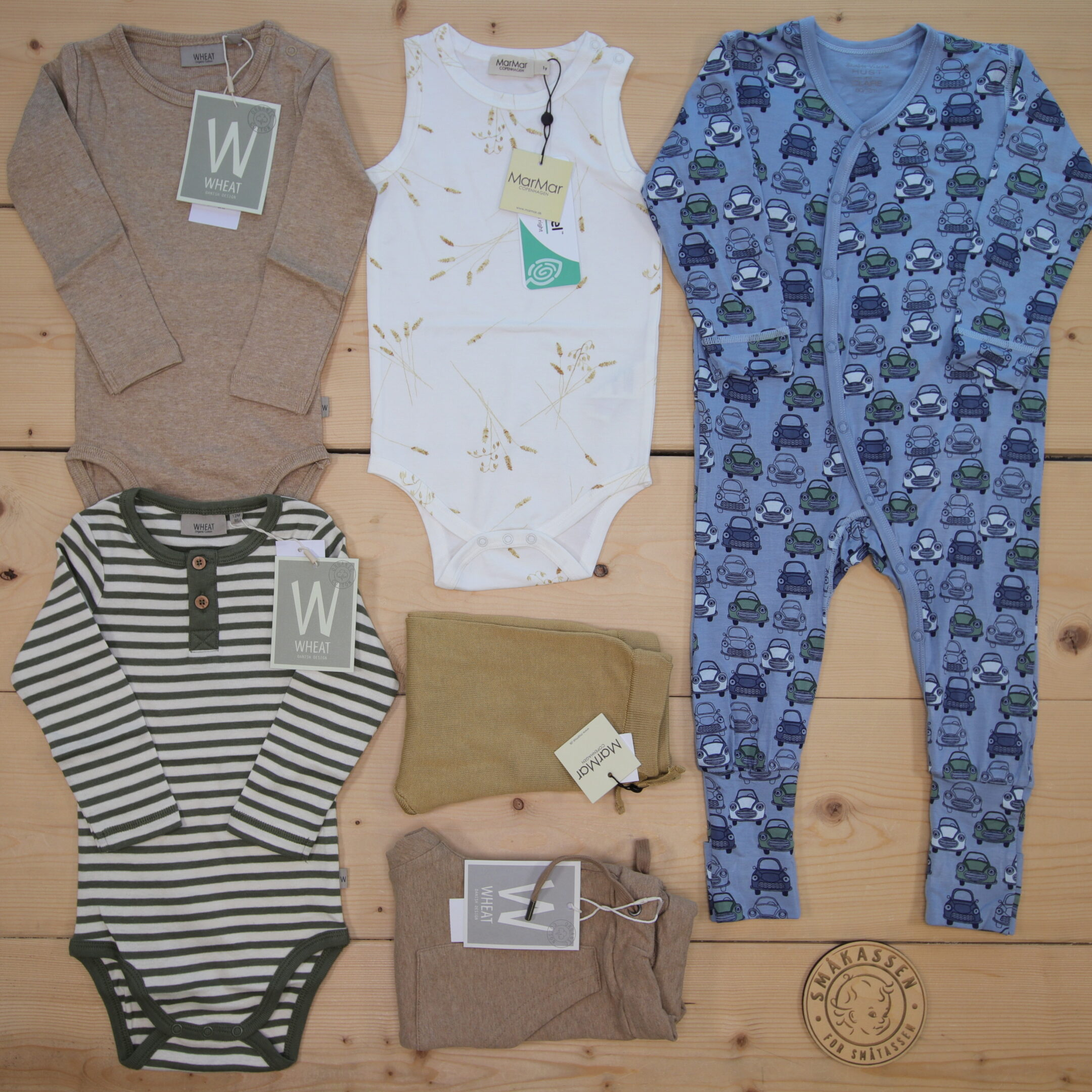 Dette er Småpakke som vi forberedte for en gutt i stilene cool, cute, og minimalistic