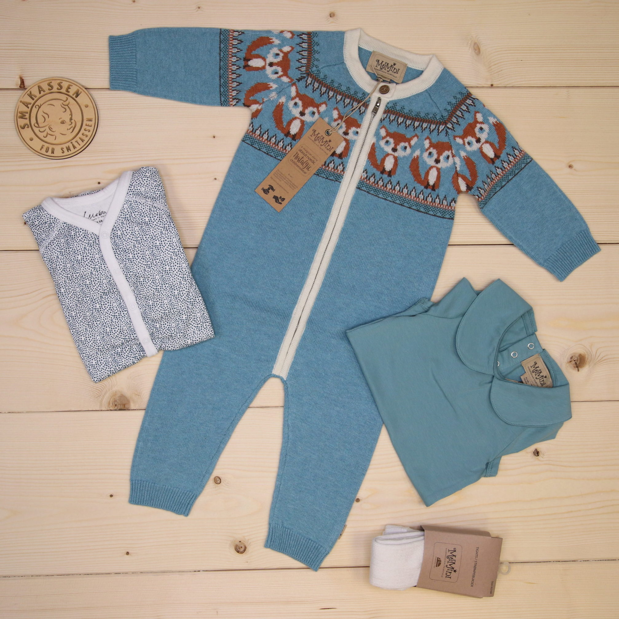 This is a 1500 NOK* Småkassen that we prepared for a boy  in the styles cute, cool, and colorful in size 68