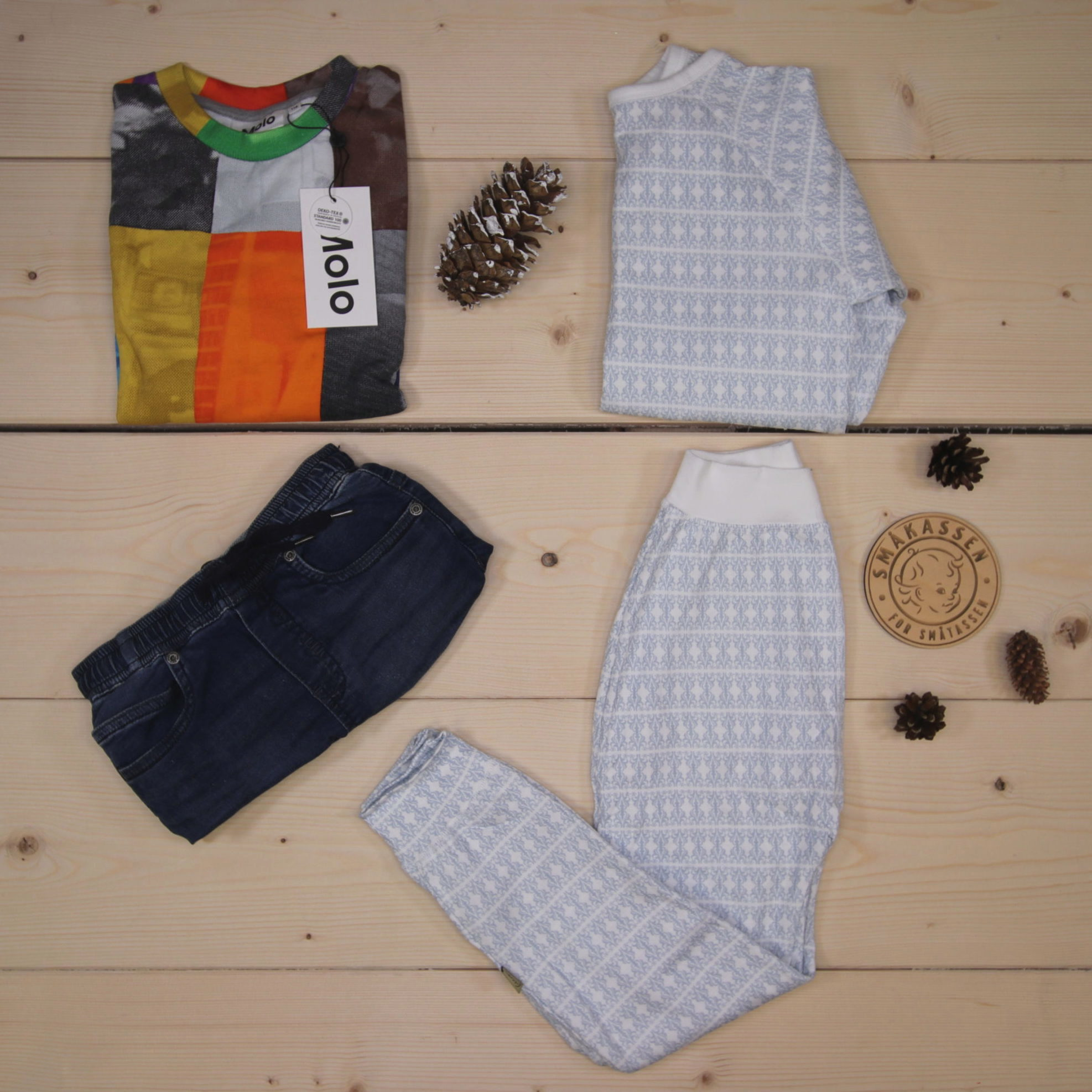 This is a 1500 NOK* Småkassen that we prepared for a boy  in the styles cute, cool, and colorful in size 116