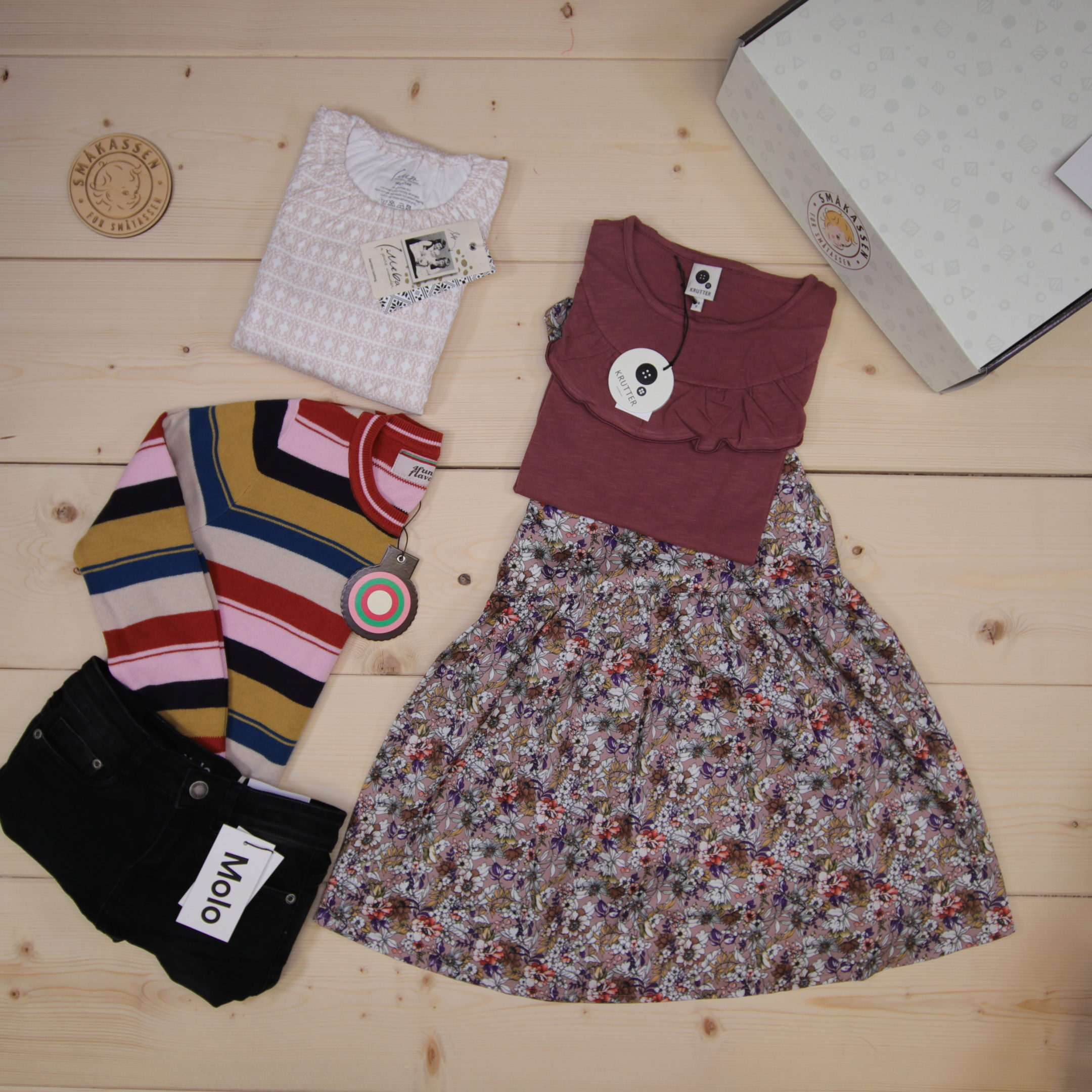 This is a 166 GBP* Småkassen that we prepared for a girl  in the styles cute, cool, and colorful in size 134