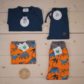 News: Småfolk outfit with dinosaurs combined with Gullkorn from AW19   This is a The Childish Stylist that we prepared for a boy in the styles cute, cool, and colorful in size 110.